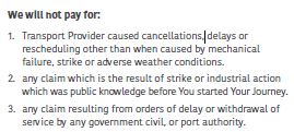 Insurance terms cancellation flight