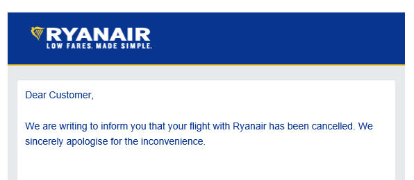 ryanair cancellation