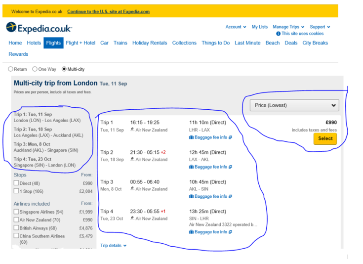 Expedia Round The World Flight Bargain
